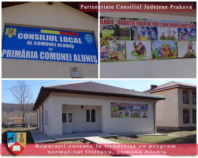 """Consiliul Județean Prahova, în parteneriat cu Consiliul Local Aluniș, a finanțat proiectul ,,Reparații curente la Grădinița cu program normal-sat Ostrovu"""""""