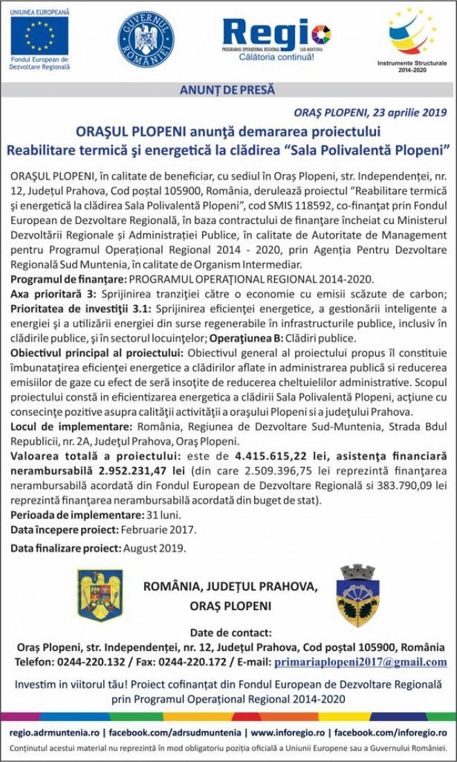 "Orasul Plopeni anunta demararea proiectului ""Reabilitare termica si energetica la ""Sala Polivalenta Plopeni"""