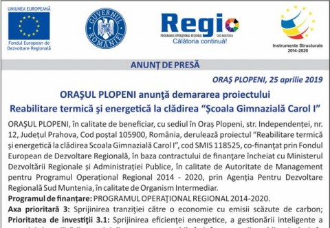 """Orasul Plopeni anunta demararea proiectului """"Reabilitare termica si energetica la """"Scoala Gimnaziala Carol I"""""""