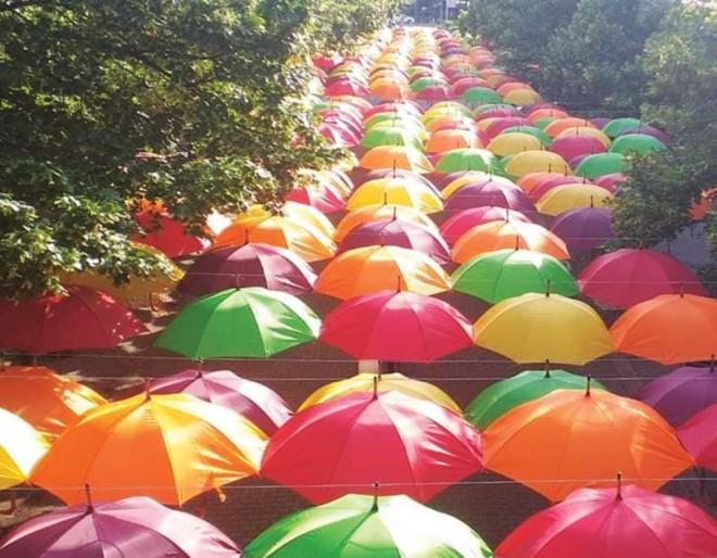 Ploiesti/ Primaria a cumparat alte 480 de umbrele colorate dupa ce primele au fost distruse de vilejie