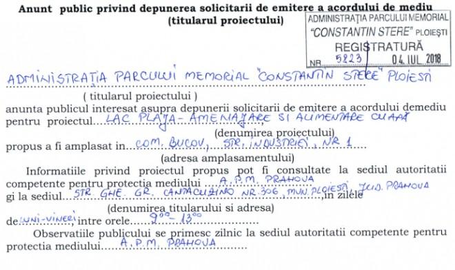 """Parcul """"Constantin Stere"""" a depus solicitarea pentru acordul de mediu, in vederea amenajarii lacului cu plaja"""