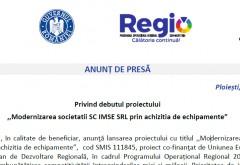 """ANUNT Privind debutul proiectului ,,Modernizarea societatii SC IMSE SRL prin achizitia de echipamente"""""""
