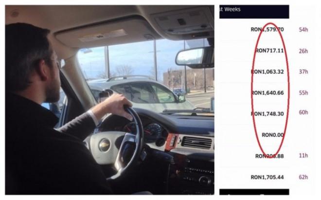 Câți bani câștigă pe lună un șofer Uber. Un tânăr a publicat sumele de bani obținute
