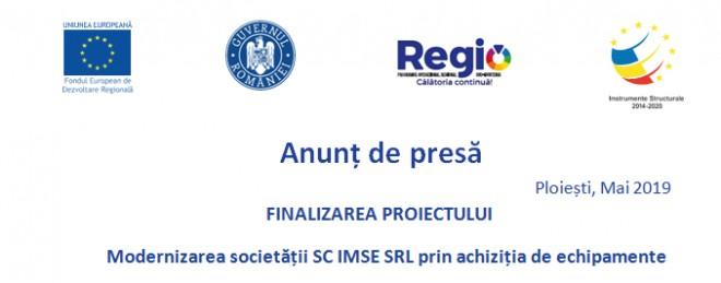"""IMSE SRL anunta finalizarea proiectului """"Modernizarea societatii SC IMSE SRL prin achizitia de echipamente"""""""