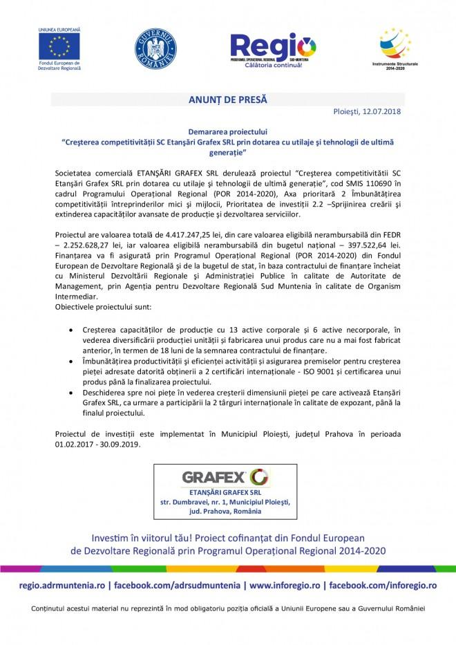 """ETANŞĂRI GRAFEX SRL derulează proiectul """"Creşterea competitivitătii SC Etanşări Grafex SRL prin dotarea cu utilaje şi tehnologii de ultimă generație"""""""