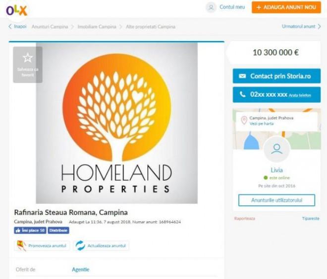 Rafinăria Steaua Română din Câmpina, de vânzare pe OLX. Directorul societății nu știa despre anunț