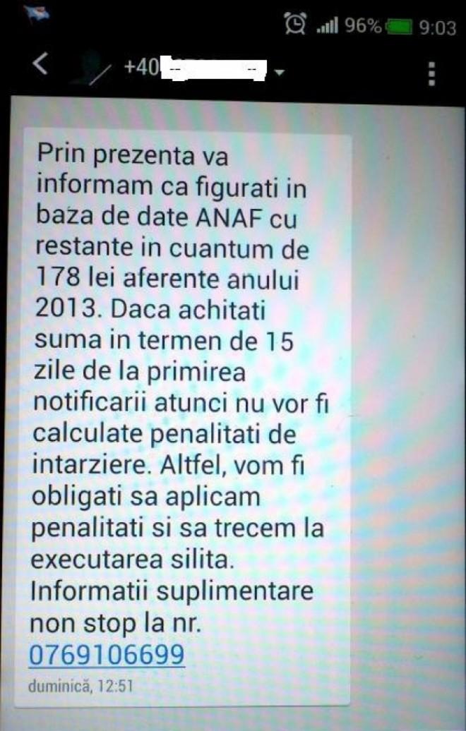 Ai primit acest SMS de la ANAF? Atenţie mare!