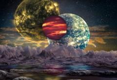 O planetă telurică nou descoperită are pe cer trei sori