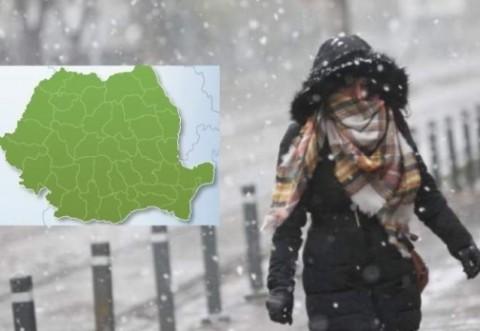 ALERTĂ METEO: Două zile de ploi, lapoviţă, temperaturi scăzute, vânt şi ninsori. ANM anunţă că se depune strat nou de zăpadă