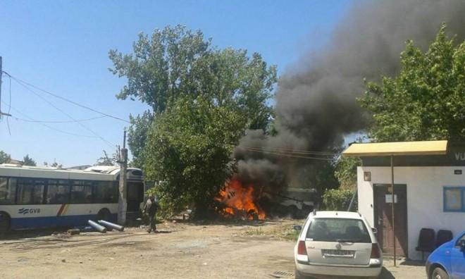 Incendiu in Ploiesti, in statia de autobuz din Bulevardul Petrolului