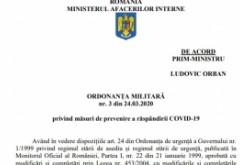 DOCUMENT - Textul integral al Ordonanţei Militare nr. 3/2020, prin care se instituie carantina generală în România
