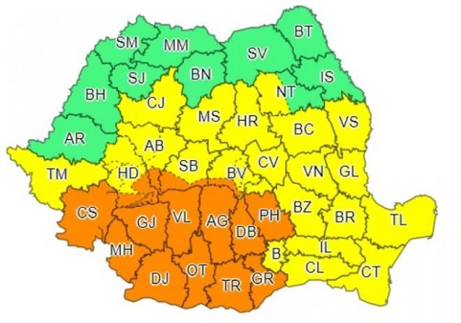 BREAKING - ALERTE METEO de cod GALBEN și PORTOCALIU de ploi și vijelii în România