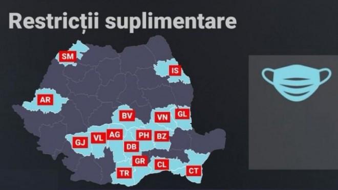 Harta județelor în care masca de protecție a devenit obligatorie și în spațiile deschise