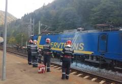 ALERTA! Un tren care transporta motorina a luat foc in gara Sinaia