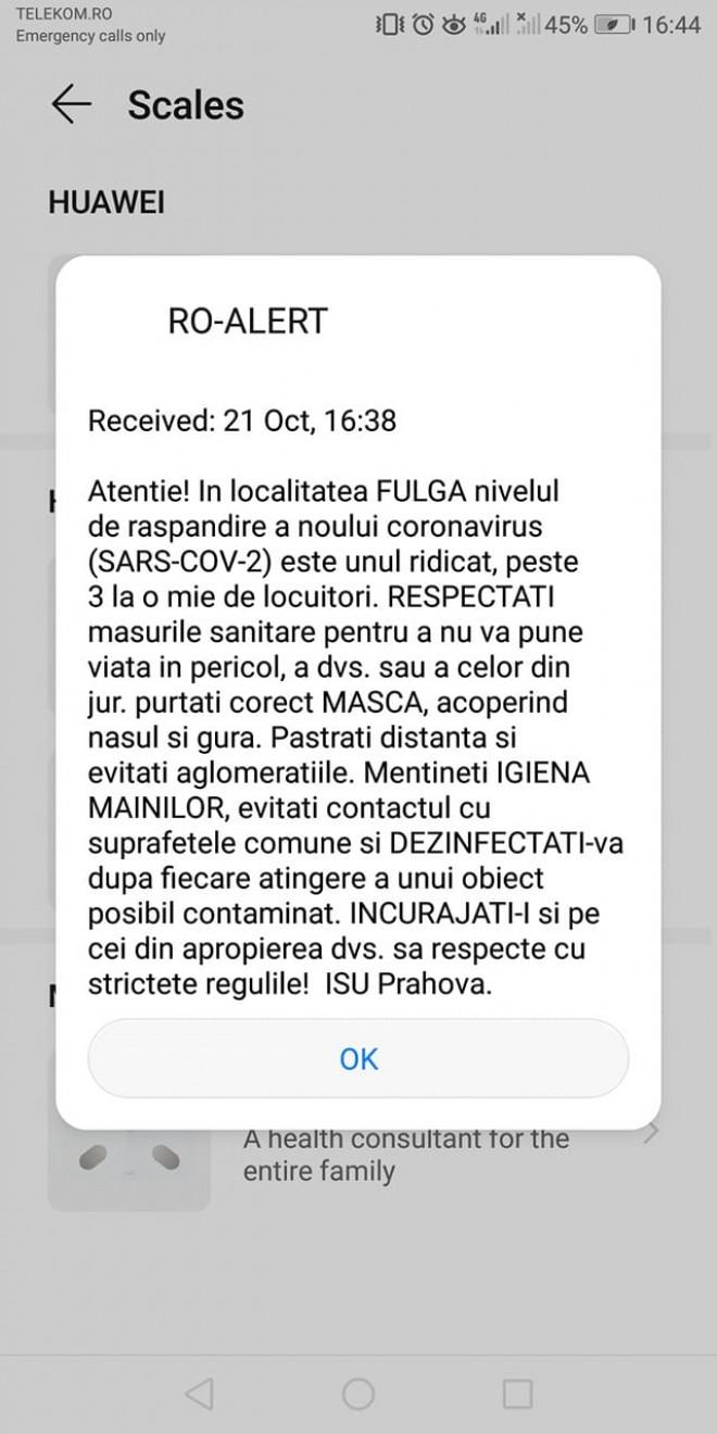 Mesaje RO-ALERT in Prahova. Mai multe localitati, avertizate asupra numarului mare de infectati cu COVID-19