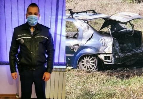 Omul potrivit la locul potrivit! Un absolvent al Școlii de Poliție de la Câmpina i-a salvat viața unui bărbat implicat într-un accident rutier, cu câteva clipe înainte ca mașina să ia foc