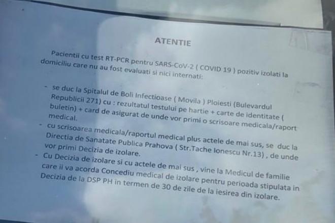 BATAIE DE JOC! In Prahova, persoanele depistate cu COVID sunt puse pe drumuri! Bolnavii, obligati sa se duca singuri la Movila, apoi la DSP si la medicul de familie pentru obtinerea documentelor