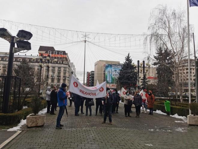 Proteste în Ploieşti. Sanitas, în stradă/ FOTO