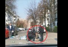 Momentul în care mai mulți polițiști locali din Ploiești imobilizează și încătușează un amărât care strângea PET-uri