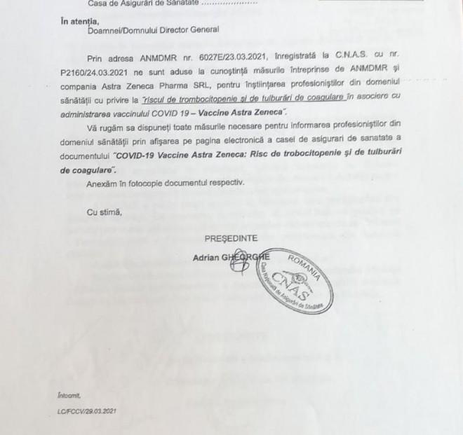 CASA NAŢIONALĂ DE SĂNĂTATE AVERTIZEAZĂ: Risc de formare a cheagurilor de sange dupa vaccinarea cu AstraZeneca