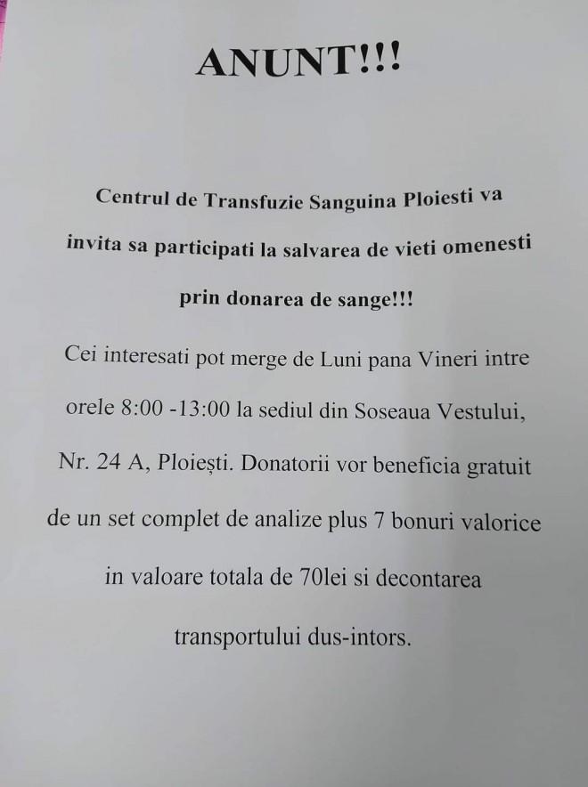 Centrul de transfuzie sanguina Ploiesti are nevoie de donatori! Se ofera la schimb un set complet de analize gratuite si 7 bonuri valorice