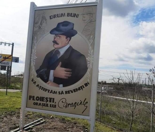 """SGU a montat panouri cu """"Ploiești, orașul lui Caragiale"""", montate la ieșirea din oraş"""