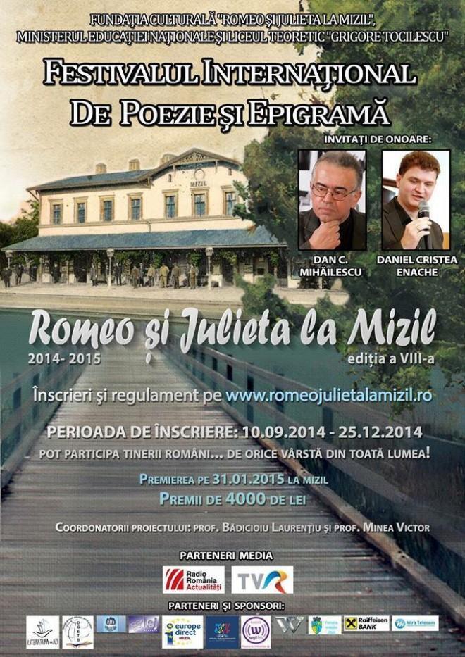 """Festivalul Internaţional de Poezie şi Epigramă """"Romeo şi Julieta"""" la Mizil. Află cum te poţi înscrie"""