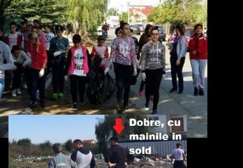 Curatenie in Ploiesti/ Copiii voluntari ne-au strans jegul de pe strazi, primarul Dobre a facut poze