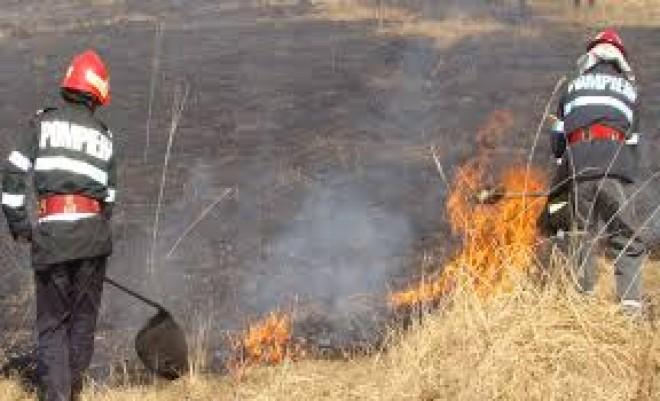 Incendiu de vegetatie uscata, la Breaza