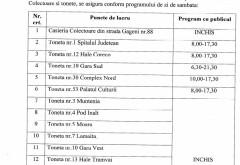 Programul de lucru al tonetelor TCE în datele de 1 şi 5 iunie