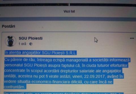 Incredibil! SGU Ploiesti si-a anuntat angajatii, pe FACEBOOK, ca nu li se vor da salariile la timp