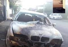 Un BMW a ars pe o stradă din Ploiești
