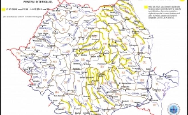 ALERTĂ - Hidrologii au emis COD GALBEN de inundații: HARTA zonelor vizate