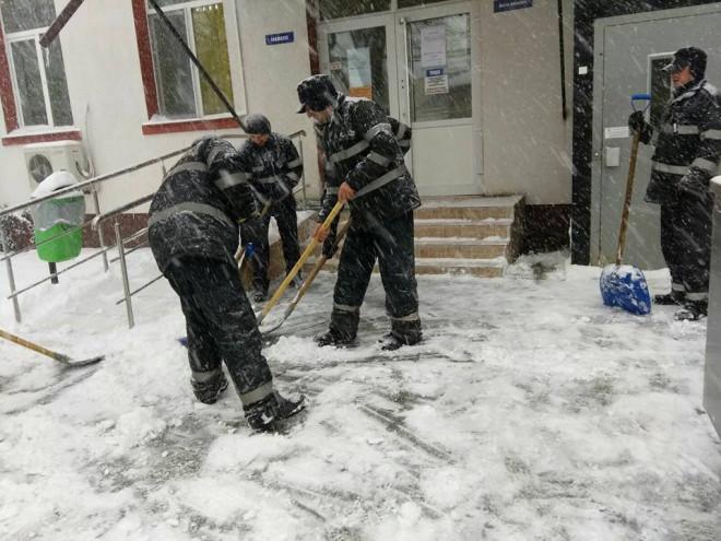 Pompierii deszapezesc curtile spitalelor din Ploiesti