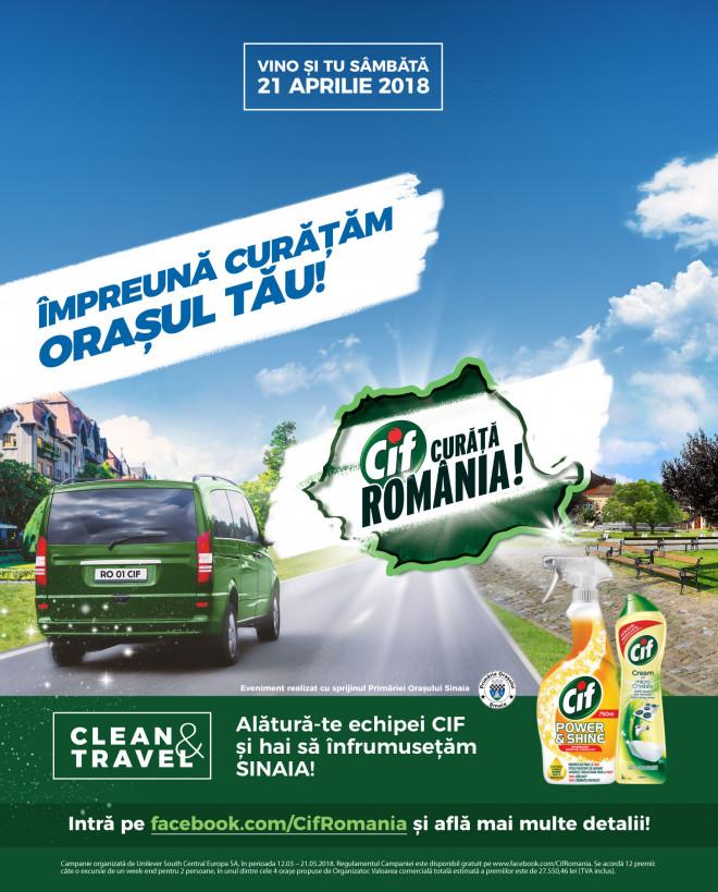 """Campania """"Cif curăță România"""" ajunge, in weekend, la Sinaia"""