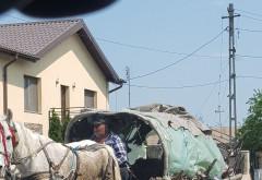 Prima căruță hibrid din Romania, suprinsa in trafic la Pucheni! Merge si pe sosea si pe calea ferata