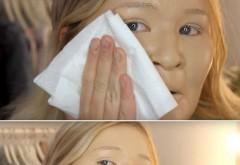 Si-a aplicat 100 de straturi de fond de ten! Ce s-a intamplat cu pielea ei cand s-a demachiat e groaznic!!! N-ai cum sa te mutilezi asa