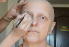 """Aceasta femeie bolnava de cancer a cerut sa fie machiata foarte simplu: """"Stiu ca sunt o epava, nu mai am par, sprancene, pielea e moarta, dar vreau ceva simplu, ca sa imi amintesc de zilele in care era sanatoasa"""" Ce a urmat iti va smulge o lacrima!"""