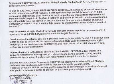 PSD a anuntat Biroul Electoral de bataia de la Cocorasti