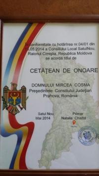 Mircea Cosma a primit titlul de Cetatean de Onoare, in Republica Moldova