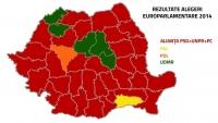 REZULTATE FINALE ALEGERI EUROPARLAMENTARE 2014. HARTA României politice, după scrutinul de duminică