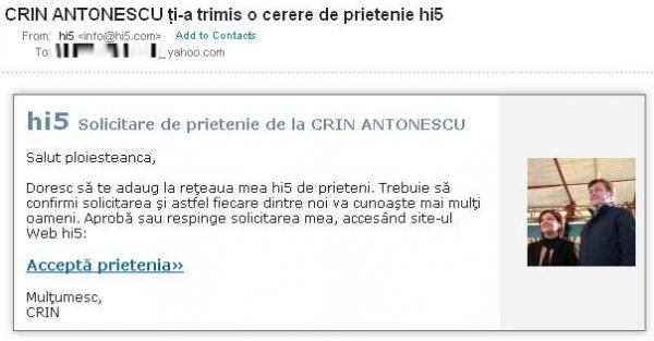 Ce fac unii in turul 2: Crin Antonescu e activ pe Hi5