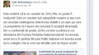 Ce mesaj a postat Antonescu pe Facebook, privind demisia din fruntea PNL