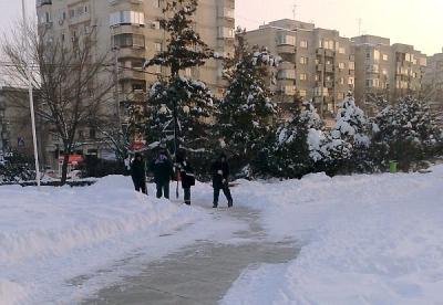 Recital de prostie: ADPP-istii au degajat un parc lasand trotuarele inzapezite