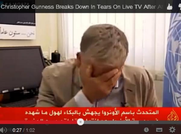Un purtător de cuvânt al ONU izbucneşte în hohote de plâns în timp ce descrie situaţia din Gaza