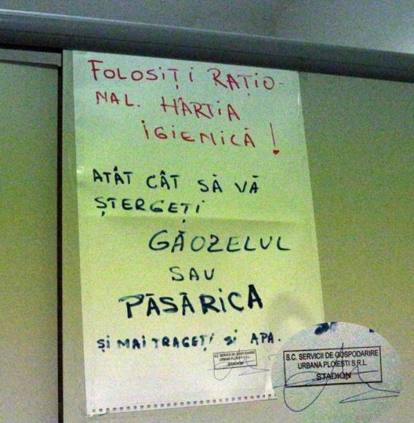 """Cum explica SGU mesajul cu """"GĂOZELUL"""", din toaleta de la stadion"""