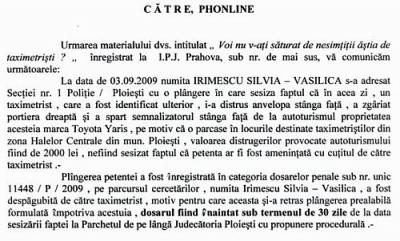 Taximetriştii - un pericol public, confirmat de IJP Prahova