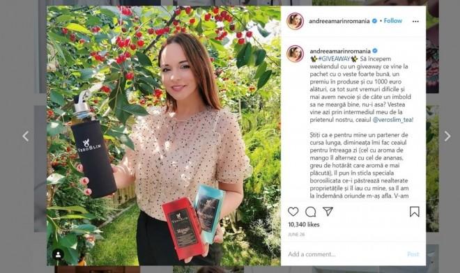 """Andreea Marin, Dan Capatos, Andreea Berecleanu și alte zeci de vedete promovează un ceai de slăbit pe Instagram, fără să-și anunțe fanii că e reclamă. """"Etica e subiectivă"""""""