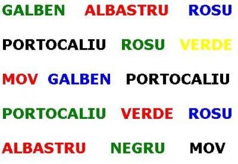 TEST. Ești bun dacă reușești să faci asta: 8 din 10 dau greș! Spune cu voce tare culorile cuvintelor! Click pentru imaginea completă!