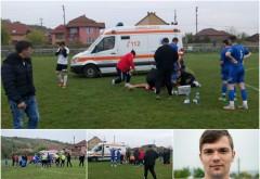 """Momente de groază la un meci din România: """"Zi-le să oprească meciul că mi-e rău!"""" Apoi, a picat pe teren. Un episod incredibil cu un jucător de 24 de ani. Filmul evenimentelor: stopul, medicul, paramedicul, ambulanţa, poarta închisă, omul cu flexul, accid"""